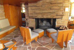 Modern Living Room with exterior stone floors, exterior sandstone floors