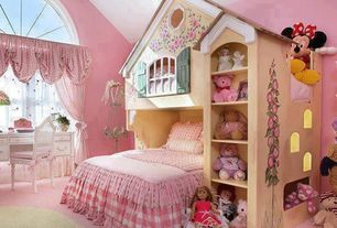Cottage Kids Bedroom with Luxe pink girls' bedding by caden lane, Bunk beds, High ceiling, Maryville dollhouse loft bed