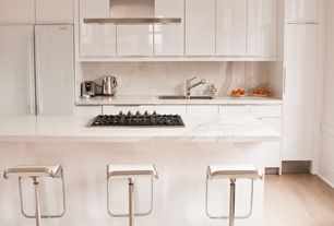 Modern Kitchen with Flush, Ms international calacatta classic marble, Breakfast bar, Complex marble counters, Complex Marble