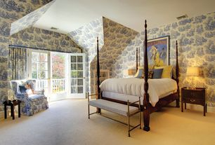 Traditional Master Bedroom with American drew grove pediment four poster bed, French doors, Standard height, flush light