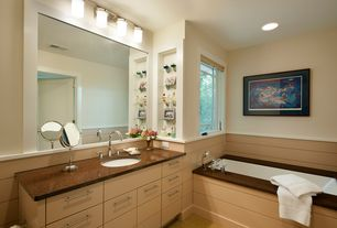 Transitional Master Bathroom with specialty door, Flush, Master bathroom, Wainscotting, Simple granite counters