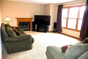 Craftsman Living Room with Carpet, metal fireplace