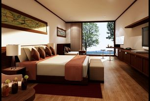 Asian Master Bedroom with Hardwood floors, Crown molding, Standard height, West Elm - Boerum Bed Frame in Caf?, Paint 1