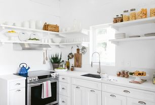Cottage Kitchen with Undermount sink, Quartz countertop, Open shelving, Corian - designer white, Flush, L-shaped