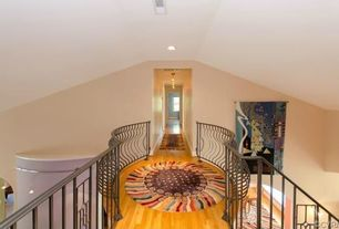 Eclectic Hallway with Pendant light, Hardwood floors