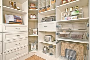 Traditional Pantry with Built-in bookshelf, Hardwood floors, Standard height, Chrome baskets, Built in pantry system