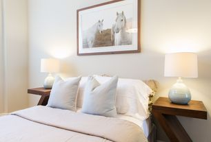 Contemporary Guest Bedroom with Throw pillow, Stylish Z Shaped End Table, Merie Table Lamp
