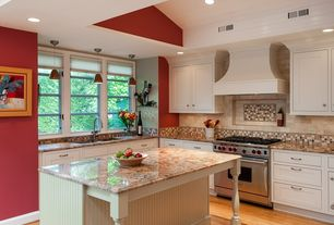 Cottage Kitchen with Complex granite counters, Inset cabinets, Oak - Butterscotch 2 1/4 in. Solid Hardwood Strip, Stone Tile