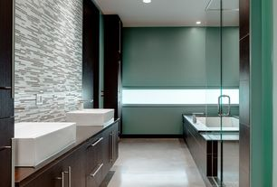 Contemporary Master Bathroom with Wood counters, European Cabinets, frameless showerdoor, Double sink, Vessel sink, Flush