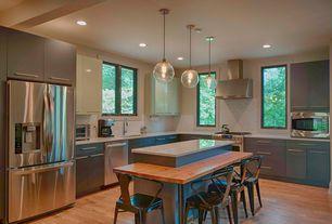 Modern Kitchen with Breakfast bar, Ceramic Tile, Undermount sink, Ikea Hammarp Butcher Block Countertop Birch, Wood counter
