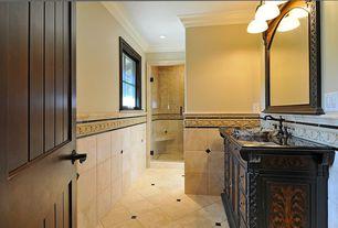 Traditional 3/4 Bathroom with Flush, American Olean Designer Elegance Rosa A Rilievo Ceramic Listello Tile, Vessel sink
