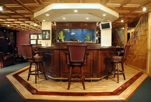 Traditional Bar with Box ceiling, Laminate floors