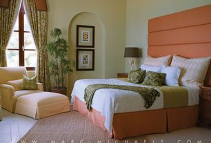Tropical Master Bedroom with Standard height, Casement, Crown molding, Concrete tile