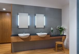 Contemporary Master Bathroom with Sheldon Slate Countertop, Robern M Series Cabinet, Double sink, Hardwood floors, Flush