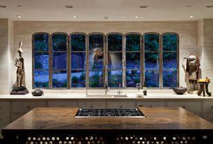 Contemporary Kitchen with Inset cabinets, Travertine counters, Kitchen island, European Cabinets, One-wall, Wood counters