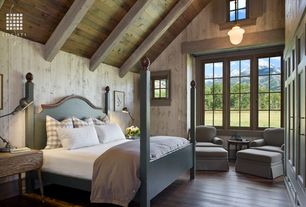 Rustic Master Bedroom with Exposed beam, flush light, Built-in bookshelf, Hardwood floors, High ceiling
