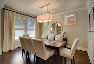 Modern Dining Room with Pottery Barn Paloma Mirror, Pendant light, Pottery Barn Comfort Square Arm Upholstered Side Chair