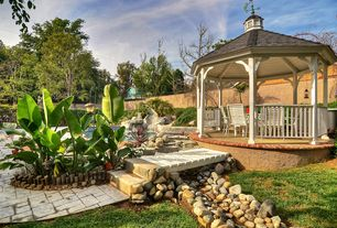 Contemporary Landscape/Yard with Fountain, Gazebo, Pathway, Nature Hills Winter Gem Boxwood, exterior tile floors, Fence