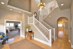 Traditional Staircase with Hardwood floors, Chandelier