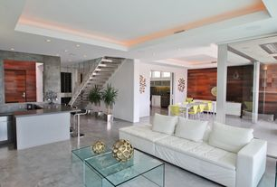 Contemporary Living Room with Concrete floors, Concrete wall, Columns, dCOR design Sojourn Coffee Table