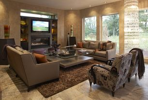 Contemporary Living Room with Jesper office glass top 40-in square coffee table, Chandra gianna dark brown rug