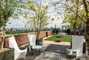 Contemporary Patio with Fence, Pathway, exterior tile floors, exterior concrete tile floors, Casement, Fire pit