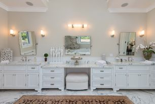 Traditional Master Bathroom with Flat panel cabinets, Double sink, Wall sconce, Crown molding, Master bathroom