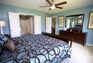 Contemporary Master Bedroom with Carpet, six panel door, Standard height, Ceiling fan