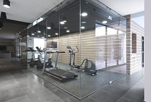 Contemporary Home Gym with interior wallpaper, Pental evolve, concrete, 24x24, French doors, Concrete floors, flush light