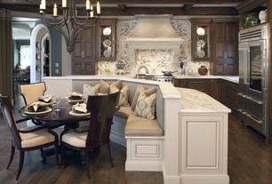Traditional Kitchen with Glass panel, Flush, Undermount sink, Hardwood floors, Artistic Tile Danse Azul Water Jet Cut Tile