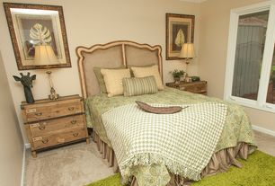Tropical Guest Bedroom with Crown molding, Carpet