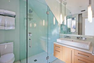 Contemporary Full Bathroom with Flush, European Cabinets, Double sink, Pendant light, frameless showerdoor, Concrete floors