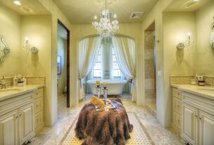 Traditional Master Bathroom with Ceramic Tile, Flat panel cabinets, Complex marble counters, Chandelier, Raised panel