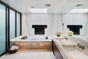 Contemporary Bathroom with Pental - Calacatta Gold Polished Marble Slab, Simple marble counters, Simple marble wall, Skylight