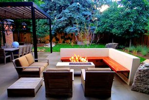 Contemporary Patio with Pathway, Trellis, exterior concrete tile floors, exterior tile floors, Fence, Fire pit
