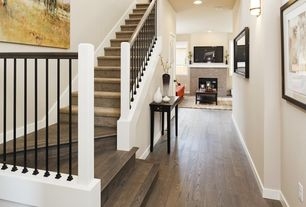 Modern Staircase with High ceiling, Hardwood floors, Carpet