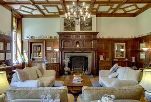 Traditional Living Room with can lights, Box ceiling, Busbridge hall, Fireplace, Paint, High ceiling, Surrey, england