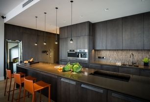 Contemporary Kitchen with One-wall, Kitchen island, Destiny: slab cabinets, European Cabinets, Flush, Corian counters