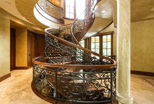 Mediterranean Staircase with Spiral staircase, Columns, Custom made art nouveau hand rail, Loft, Cathedral ceiling