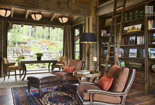 Rustic Library with flush light, Built-in bookshelf, Exposed beam, Hardwood floors, High ceiling, Glass panel door