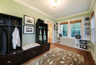 Traditional Mud Room with Hardwood floors, Pottery Barn Samantha Modular Cabinets, Crown molding, flush light, Paint 1