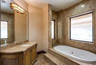 Traditional Full Bathroom with Complex Granite, complex granite tile floors, Flat panel cabinets, Complex granite counters