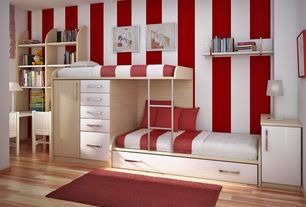 Contemporary Kids Bedroom with Built-in bookshelf, paint2, interior wallpaper, Ikea- ADUM Rug, high pile, bright red