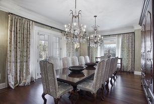 Traditional Dining Room with French doors, Chandelier, Duralee Oakridge Collection Azalea Drapery, interior wallpaper