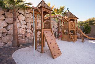 Traditional Playroom with Brick floors, Swingset