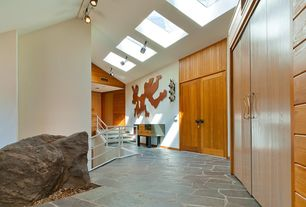 Contemporary Entryway with flush light, Skylight, slate floors, High ceiling, French doors