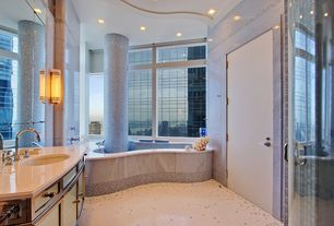 Contemporary Master Bathroom with Mosaic tile, Corian counters, Undermount sink, Master bathroom, Inset cabinets, Columns