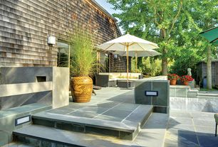 Contemporary Patio with exterior tile floors