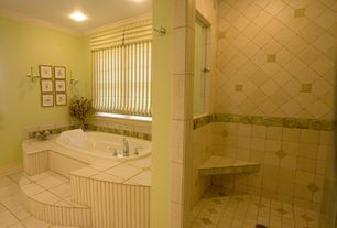 Traditional Master Bathroom with Paint 1, Bathtub, Shower, Crown molding, Paint 3, stone tile floors, Paint 2, can lights