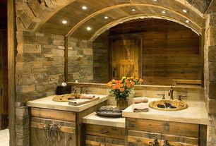 Rustic Full Bathroom with stone tile counters, Stone Tile, stone tile floors, Inset cabinets, Double sink, Limestone Tile